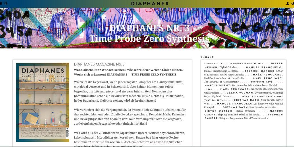 Hurra! Ein neues Magazin: DIAPHANES