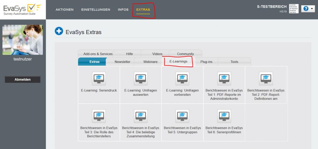 Zugang zum E-Learning - Uebersicht E-Learning