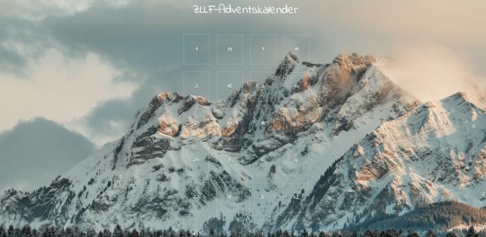 Bergpanorama als Hintergrund des ZLLF Adventskalender