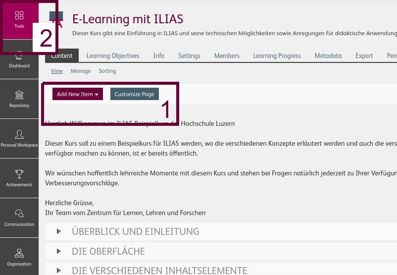 Neue Position der Knöpfe und klarer ersichtliche Tools in ILIAS 7