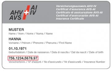 AHV-Ausweis mit AHV-Nummer