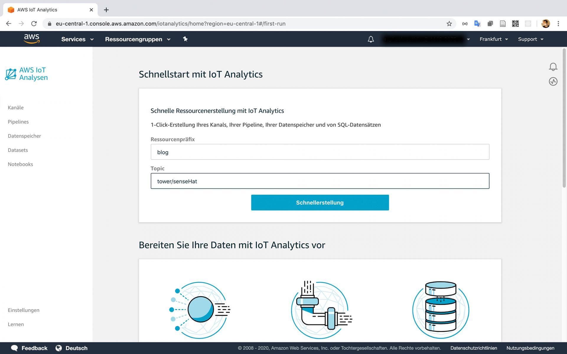 AWS IoT Analytics Dataset Schnellstart