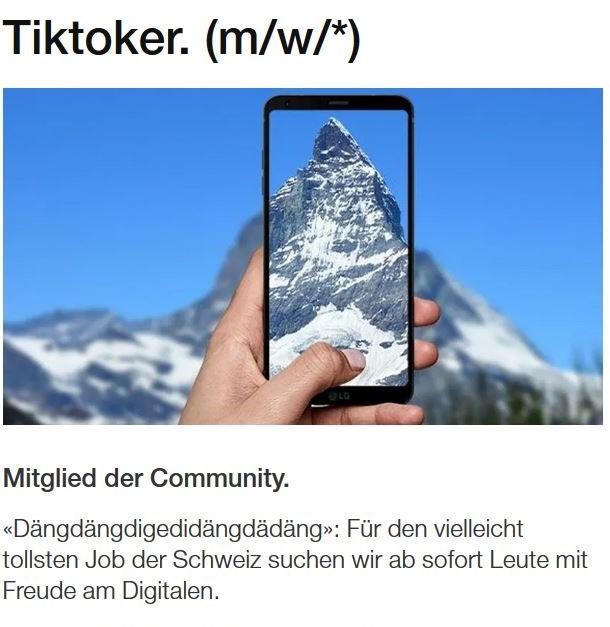 Stelleninserat TikToker Schweiz Tourismus